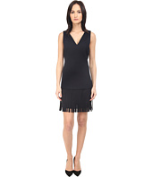 Neil Barrett - Deep V-Neck Fringed Fine Double Bonded Sweat Dress