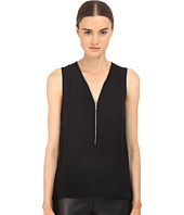 The Kooples - Tank Top in Silk and Jersey with a Zip Neckline