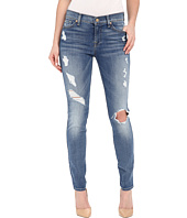 7 For All Mankind - The Skinny w/ Contrast Squiggle & Destroy in Stretch Blue Orchid 2