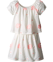Chloe Kids - White Dress with Pink Embroidery (Little Kids/Big Kids)