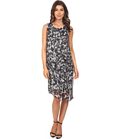 Vince Camuto - Sleeveless Broken Prism Dress w/ Chiffon Overlay