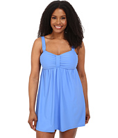 Athena - Plus Size Cabana Solids Molded Cup Swim Dress w/ Hidden Hook and Eye Tail One-Piece