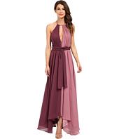 JILL JILL STUART - Halter Two-Tone Crinkle Chiffon Gown