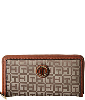 Tommy Hilfiger - TH Serif Signature - Monogram Jacquard/Smooth Large Zip Around Wallet