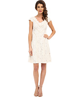 Adrianna Papell - Sweetheart V-Neckline Striped Dress