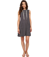 Allen Allen - Stripe Sleeveless Hooded Henley Dress