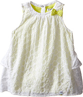 IKKS - Eyelet Sleeveless Dress Over Neon Yellow Jersey with Bow Ruffle Back w/ Snaps (Infant/Toddler)