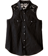 IKKS - Sleeveless Denim Blouse with Snap Front & Crochet Lace Detail at Shoulder (Big Kids)