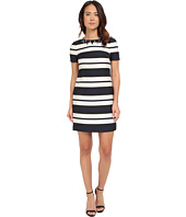 Vince Camuto - Jacquard Short Sleeve Shift with Combo Back and Beaded Neckline