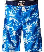 Appaman Kids - Elastic Waist and Lined Swim Trunks with Adstract Palm Tree Design (Toddler/Little Kids/Big Kids)