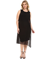 Vince Camuto Specialty Size - Plus Size Sleeveless Dress with Asymmetrical Chiffon Overlay