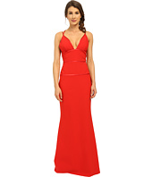 JILL JILL STUART - Deep-V Spagetti Straps Fitted Elastane Gown