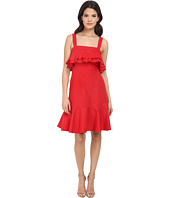 JILL JILL STUART - Spagetti Strapped Ruffled Front Silk/Cotton Faille Short Dress
