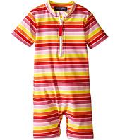 Toobydoo - Multi Stripe/White Zip Short Sleeve Sunsuit (Infant)