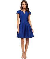 Halston Heritage - Short Sleeve Notch Neck Dress with Tulip Skirt
