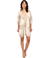 Halston Heritage - Long Sleeve V-Neck Printed Mini Kaftan Dress
