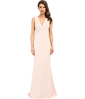 Badgley Mischka - Foil Crepe V-Neck Dress