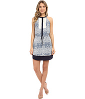 Adelyn Rae - Drawstring Printed Dress w/ Contrast Lace