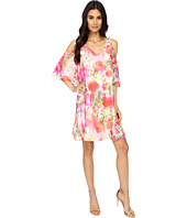 Maggy London - Brushed Flower Chiffon w/ Cold Shoulder Dress