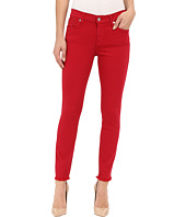 7 For All Mankind - The Ankle Skinny with Raw Hem in Fuchsia Rose