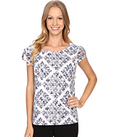 Adrianna Papell - Print Embroidered Eyelet Blouse