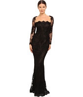 Marchesa Notte - Long Sleeve Lace Gown with Illusion Neckline