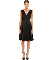 Alberta Ferretti - Sleeveless V-Neck Fit and Flare Satin Dress
