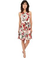 Adrianna Papell - Flower Print Sleeveless Crossback Dress