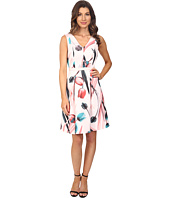 Adrianna Papell - Printed Scuba Abstract Floral Fit & Flare Dress