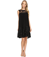 Adrianna Papell - Lace Yoke Soft Dress w/ Shirring