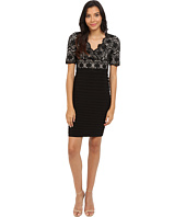 Adrianna Papell - Banded and Lace V-Neck Sheath