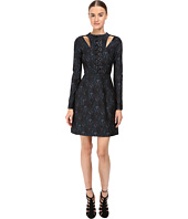 YIGAL AZROUËL - Knit Jacquard Dress with Leather and Grommet Lacing