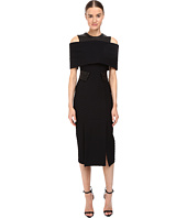 YIGAL AZROUËL - Textured Cheveron and Leather Exposed Shoulder Cap Dress