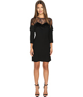 The Kooples - Crepe Dress with Lace and Fringes