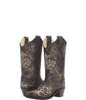 Old West Kids Boots - Embroidered Vintage Charcoal Snip Toe (Toddler/Little Kid)