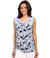 Adrianna Papell - Print Scoop Neck Side Ruched Top