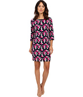 "Laundry by Shelli Segal - ""Lock Eyes"" 3/4 Sleeve Printed Matte Jersey Dress"