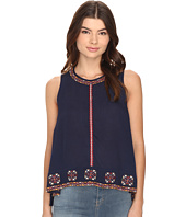Brigitte Bailey - Bren Sleeveless Zip-Up Embroidered Top