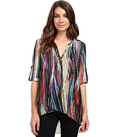 Karen Kane - Modern Art Asymmetrical Hem Wrap Top