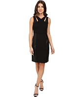 Laundry by Shelli Segal - Sheath Dress w/ Cut Outs & Faux Leather