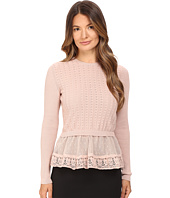 RED VALENTINO - Cotton Yarn Lingerie Stitching & Point D'Esprit Sweater