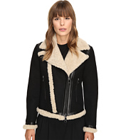 Neil Barrett - Mixed Fabrics Doubleface Wool + Shearling Petit Biker Jacket