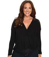 Christin Michaels - Plus Size Cora Twist Front Top with Lace Detail