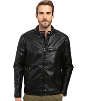Marc New York by Andrew Marc - Watkins Distressed Faux Leather Moto Jacket with Quilted Sleeves