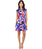 Vince Camuto - Printed Scuba Extended Cap Sleeve Fit & Flare Dress