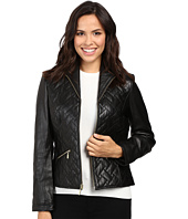 Cole Haan - Essential Quilt Zip Front Wing Collar Leather Jacket