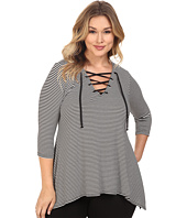 Karen Kane Plus - Plus Size Lace-Up Handkerchief Top