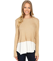 B Collection by Bobeau - Agatha Mixed Media Top with Button Shoulder