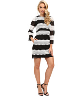 JILL JILL STUART - Two-Tone Lace Dress with Long Sleeves