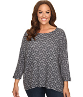 Nally & Millie - Plus Size Printed Ribbed Top